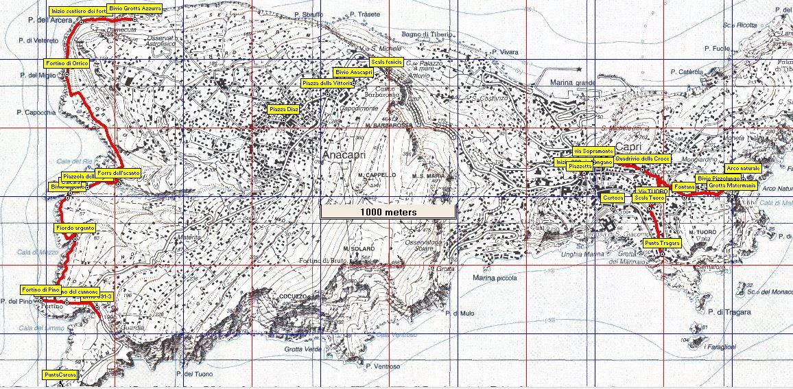 Mappa escursione Capri