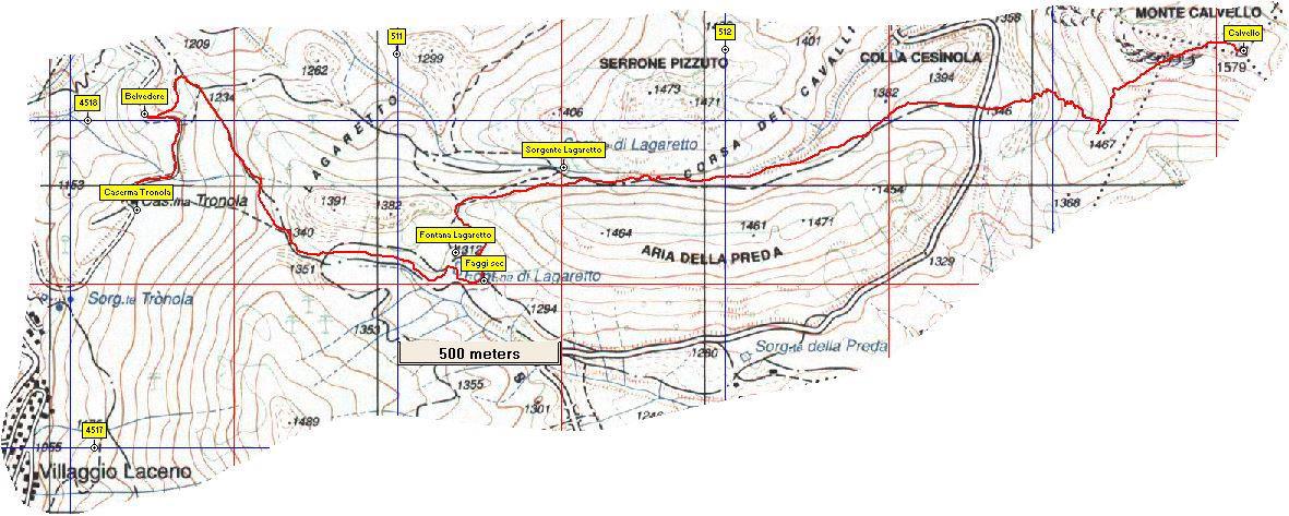 Stralcio di mappa del monte Calvello