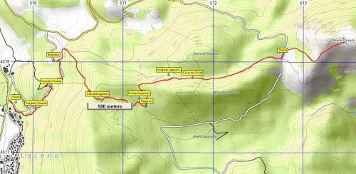 Stralcio di mappa Sentiero n°11 Monte Calvello