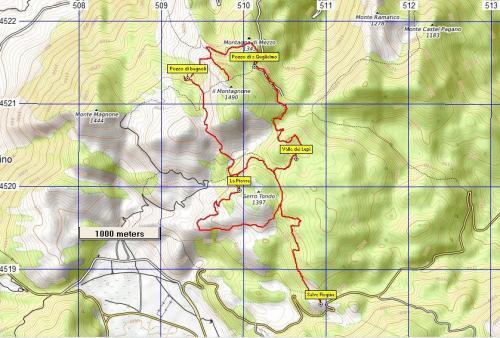 Stralcio di mappa Sentiero n°12 Montagnone di Nusco