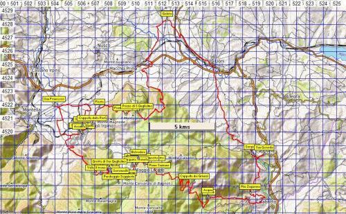 Stralcio di mappa Sentiero n°14 Sentiero delle 13 Chiese