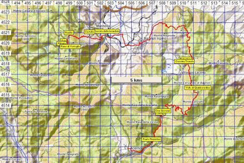 Stralcio di mappa Sentiero n°15 Collegamento Sentiero Italia