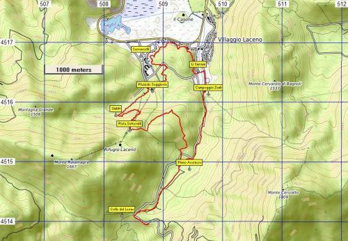 Stralcio di mappa Sentiero n°16 Il Nonno dell'Acernese