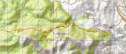 Stralcio di mappa Sentiero n°17 Sentiero delle Sorgenti