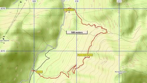 Stralcio di mappa Sentiero n°18 Sentiero del Porcino