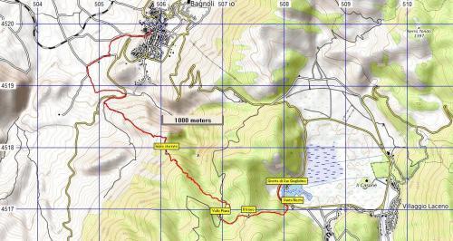 Stralcio di mappa Sentiero n°20 Grotta di San Guglielmo da Bagnoli