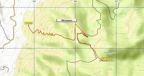 Stralcio di mappa Sentiero n°7 Acqualeggia - Sella del Sagrestano