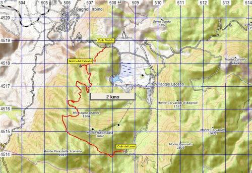 Stralcio di mappa Sentiero n°8 Grotta del Caliendo e da Colle Molella a Colle del Leone